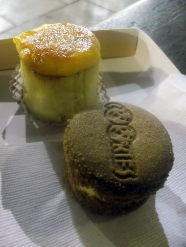 Midnight snacks: Pionono and ice cream cookie sandwich