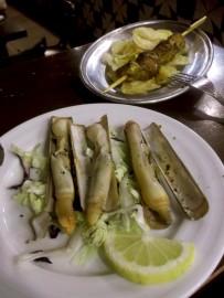 Razor clams and lamb kebab