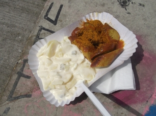 Currywurst and potato salad